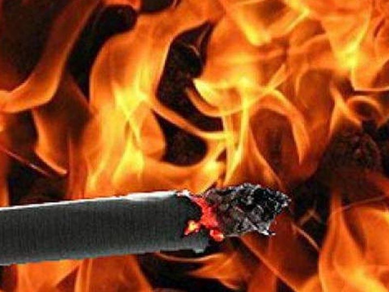Крупный пожар из-за сигареты